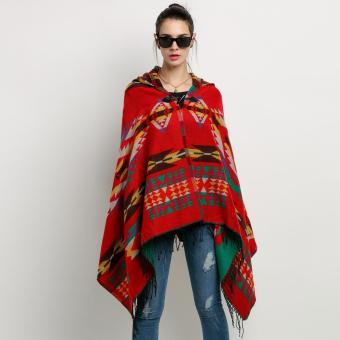 Women Wool Blend Hooded Blanket Cloak Poncho Cape Outwear CoatShawl - intl