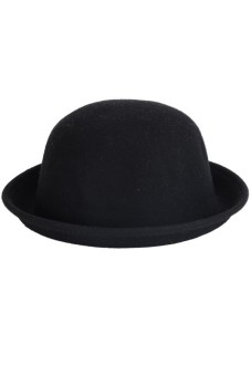 Women Wool Vintage Bowler Black