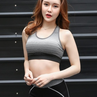 Women Yoga bra Shockproof sports underwear Gradient underwear Norims Seamless Running bra Gym bra Grey - intl - 4