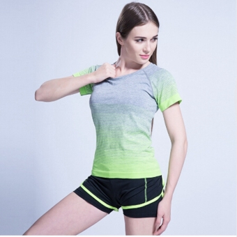 Women Yoga Sport Sets shirt with shorts Suit Fitness Workout ladiesGym Sports Running female Slim Leggings+Tops Green - intl Price Philippines
