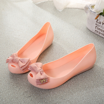 Women's Bowtie Peep Toe Jelly Flat Sandal - Candy Color (Pink)