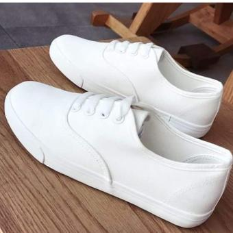Women's Canvas White Sneakers wiith Lace - White
