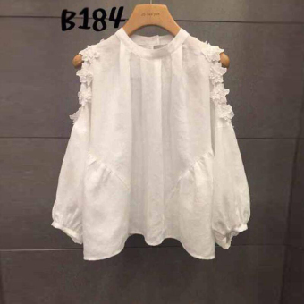 Women's Casual Floral Trimmed Off Shoulder Long Sleeve Shirt - White