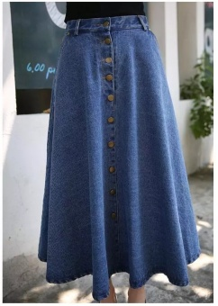 Women's Casual High Waist A-Line Full Length Denim Skirt New Cut Fabric Flared Jean Maxi - Dark Blue - intl