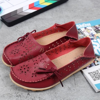 Women's Casual Shoes Genuine Leather Woman Loafers Slip-On Female Flats Moccasins Ladies Driving Shoe Cut-Outs Mother Footwear(Red wine) - 5