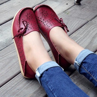 Women's Casual Shoes Genuine Leather Woman Loafers Slip-On Female Flats Moccasins Ladies Driving Shoe Cut-Outs Mother Footwear(Red wine) - 3