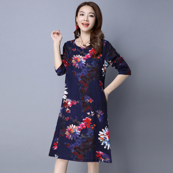 Women's Chinese-style Print Round Neck Ramie Cotton Fabric Long Sleeve Dress (Dark blue color)