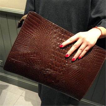 Women's crocodile pattern large capacity fashion messenger bag clutch bag (PARK'S shoulder Section)