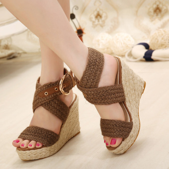 Women's Espadrille Wedge Sandals Fashion Casual Shoes Brown