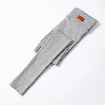 Women's Fleece-lined Thick Stretch High Waist Cropped Slim Fit Pants Color Varies (Light gray color)