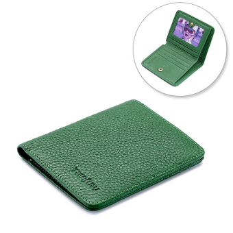 Women's folding soft leather wallet small wallet (Fruit green)