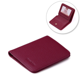 Women's folding soft leather wallet small wallet (Wine red color)