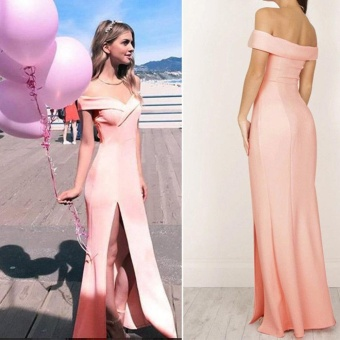 Women's Formal Long Ball Gown Party Prom Cocktail Bridesmaid Evening Maxi Dress - intl Color Pink