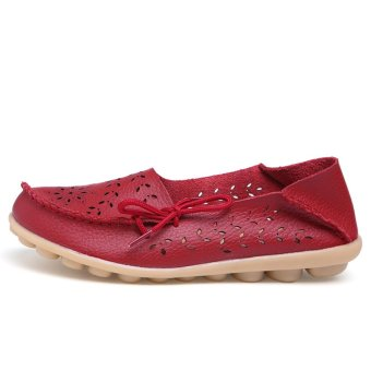 Women's Genuine Leather Loafers Casual Moccasin Driving Shoes Indoor Flat Slip-on Slippers - intl - 5