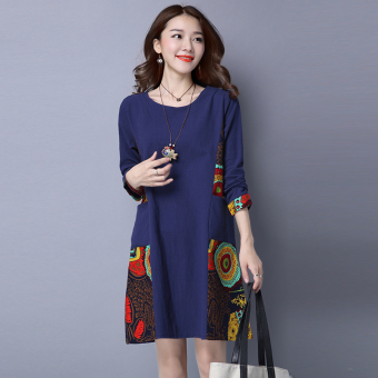 Women's Gored Ramie Cotton Fabric Long Sleeve A Line Dress (Dark blue color)