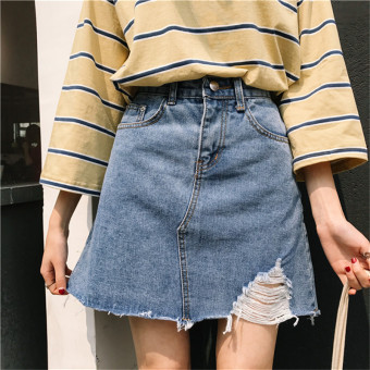 Women's Harajuku-style High Waist Denim A-line Skirt - Blue