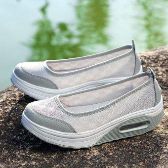 Women's Height Increasing Shoes Slip On Casual Sneaker One Slip Loafers AIWOQI(GREY)(EU:36)(Intl) - intl - 2