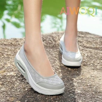Women's Height Increasing Shoes Slip On Casual Sneaker One Slip Loafers AIWOQI(GREY)(EU:36)(Intl) - intl