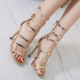 Women's High Heels Fashion Party Sandals with Cut Out Gold - intl - 5
