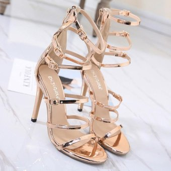 Women's High Heels Fashion Party Sandals with Cut Out Gold - intl - 4