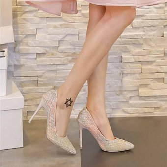 Women's High Heels Pointed Toe Wedding Shoes Party Weave Pumps Stiletto Heels Lady Color White - intl