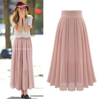 Women's High Waist Skirt Double Layer Chiffon Long Skirt - Pink - intl - 3