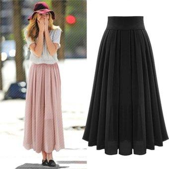 Women's High Waist Skirt Double Layer Chiffon Long Skirt - Pink - intl - 2
