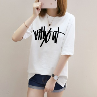 Women's Hongkong-style Stylish Round Neck Short Sleeve T-Shirt (1771 (white))