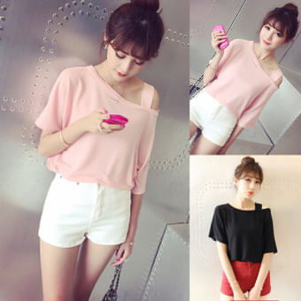 Women's Japanese-style Strapless Short Sleeve Solid Color Loose T-Shirt (Pink)