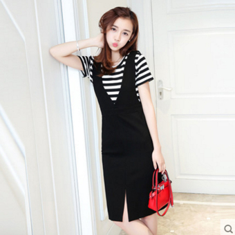 Women's Korean-style 2-pack Leisure Back Strap Midi Dress (Shoulder strap dress + striped Top)
