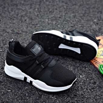 Women's Korean-style Casual Breathable Mesh Sneakers (Black)