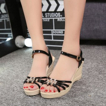 Women's Korean-style Casual Rhinestone Platform High Heel Sandal (Black high quality version)