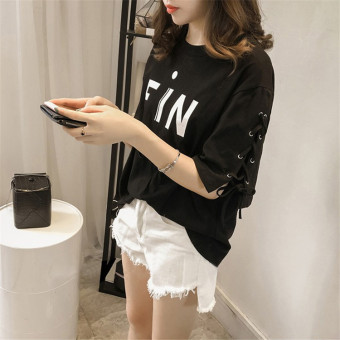 Women's Korean-style Casual Short Sleeve T-Shirt (Black)