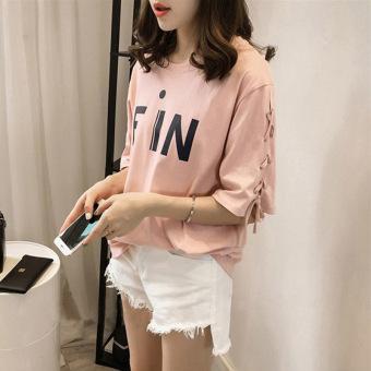 Women's Korean-style Casual Short Sleeve T-Shirt (Pink) - 2