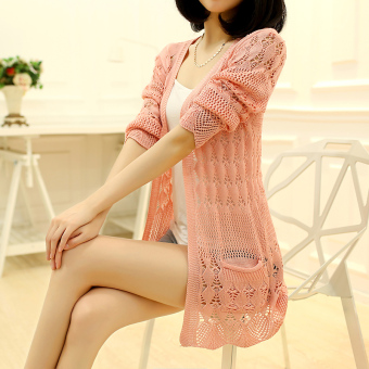 Women's Korean-style Cutout Knitted Long Cardigan (Pink)