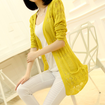 Women's Korean-style Cutout Knitted Long Cardigan (Yellow)