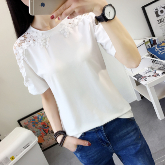 Women's Korean-style Cutout Strapless Short Sleeve Loose T-Shirt (White)