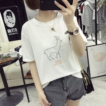 Women's Korean-style Embroidery Short Sleeve Short T-Shirt (White)