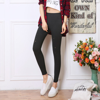 Women's Korean-style Fleece-lined Stretch High Waist Cropped Pants Color Varies (Black [small with holes] After 2 with pockets)