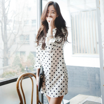 Women's Korean-style Home Three-quarter Trumpet Sleeve Long Leisure Dress