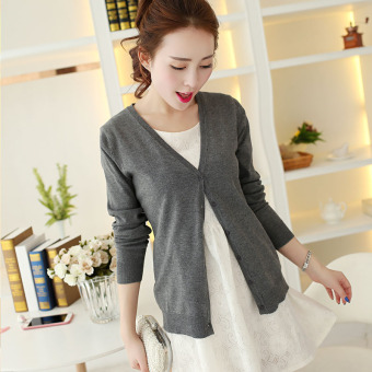 Women's Korean-style Knitted Short Cardigan (Dark Grey)