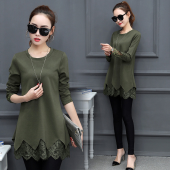 Women's Korean-style Lace Long Sleeve Mid Length T-Shirt (Dark green color)