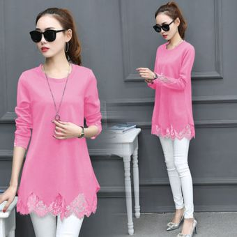 Women's Korean-style Lace Long Sleeve Mid Length T-Shirt (Pink)