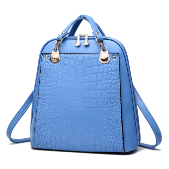 Women's Korean-style Leather Preppy Backpack (Sky blue color)