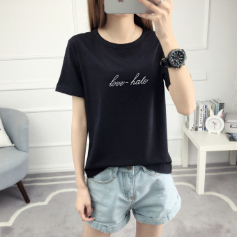 Women's Korean-style Letter Round Neck Short Sleeve T-Shirt (502-black)