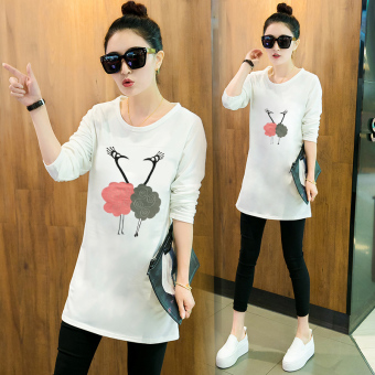 Women's Korean-style Long Sleeve Mid Length Loose T-Shirt (White)