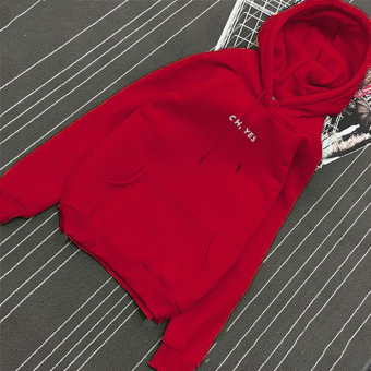 Women's Korean-style Loose Pullover Fleece-lined Hoodie (Bright Red)