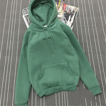 Women's Korean-style Loose Pullover Fleece-lined Hoodie (Dark Green)