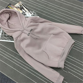 Women's Korean-style Loose Pullover Fleece-lined Hoodie (Lotus color)