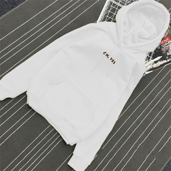 Women's Korean-style Loose Pullover Fleece-lined Hoodie (White)